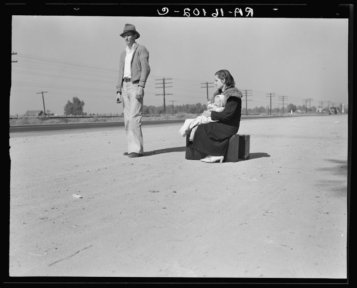 2. Young family, penniless, hitchhiking on U.S. Highway 99, California. The father, twenty-four, and the mother, seventeen, came from Winston-Salem, North Carolina early in 1935. Their baby was born in the Imperial Valley, California where they were working as field laborers.