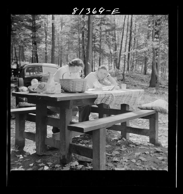 18. Picnicking on the Mohawk Trail and reading the Sunday paper.