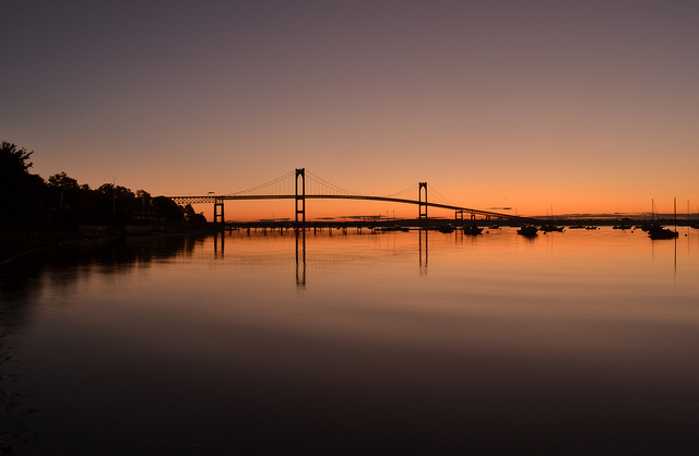 9. Watching the sunset over the Newport Bridge is an experience that is simply out of this world.