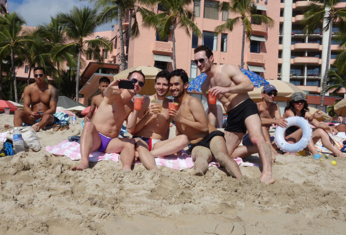 4. This image checks off two common sites in Waikiki: bachelor party bros, and constant selfie taking.