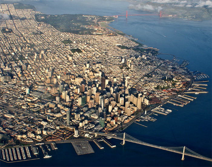 1. The spectacular Bay Bridge takes to the foreground on this shot that captures the northern part of San Francisco, all the way up to the Golden Gate Bridge.