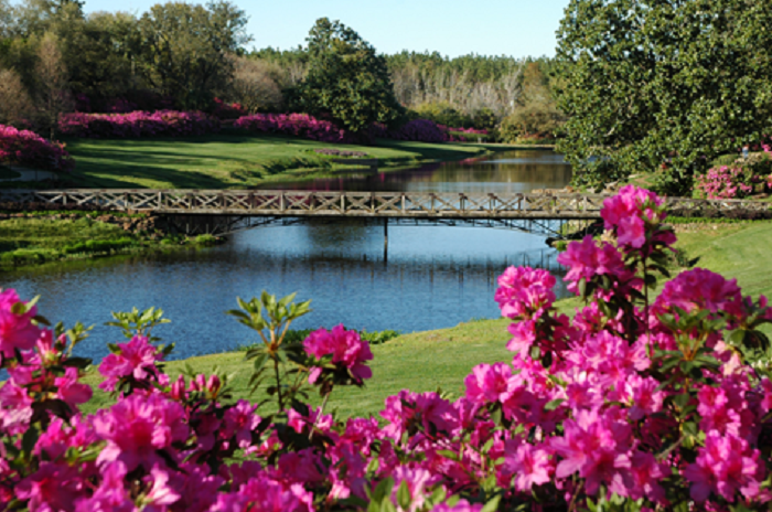 Four unique areas of the gardens include Mirror Lake...