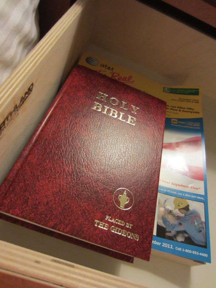 3. You've probably seen the Gideon Bible inside the nightstand drawer of your hotel room. That trend originated in Montana.