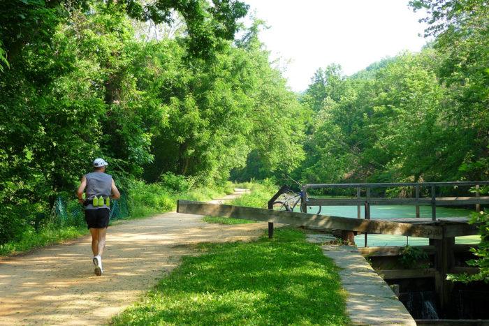 4. Walk, hike, bike or run the towpath on C&O Canal.