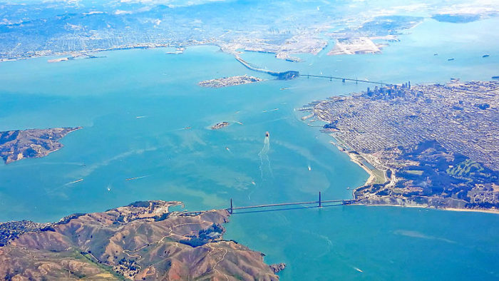 9. The blues of the Bay are just incredible here, with the Marin Headlands and Golden Gate Bridge peeking out at the bottom.