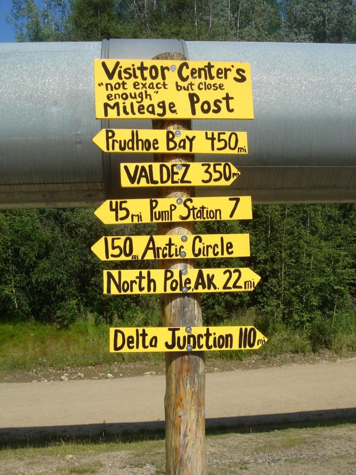 8. Accuracy is so overrated. You're in Alaska. Staring at a mileage marker on the pipeline. Just appreciate your surroundings and don't concern yourself with perfection. It's not like you have to fill up your gas tank or anything. Oh wait...