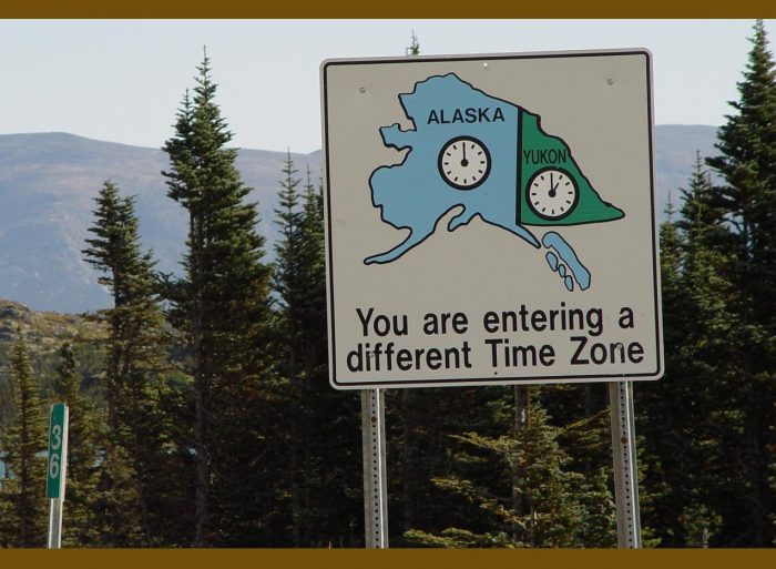 16. Just in case you forgot that you're in the middle of nowhere driving across a border, here is a huge reminder smarty pants.