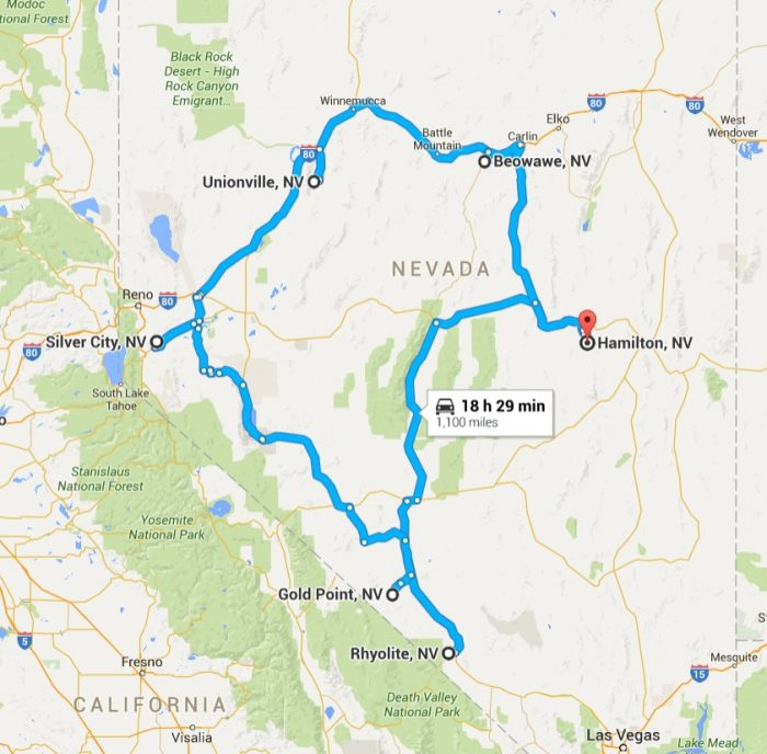 Ghost Town Colorado Map.Road Trip Through Nevada Ghost Towns
