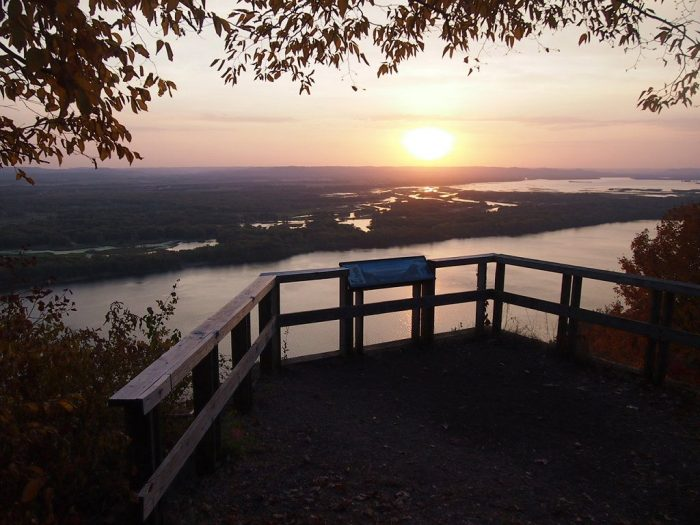 You can see across the Mississippi and the back waters of the Upper Mississippi National Wildlife and Fish Refuge.