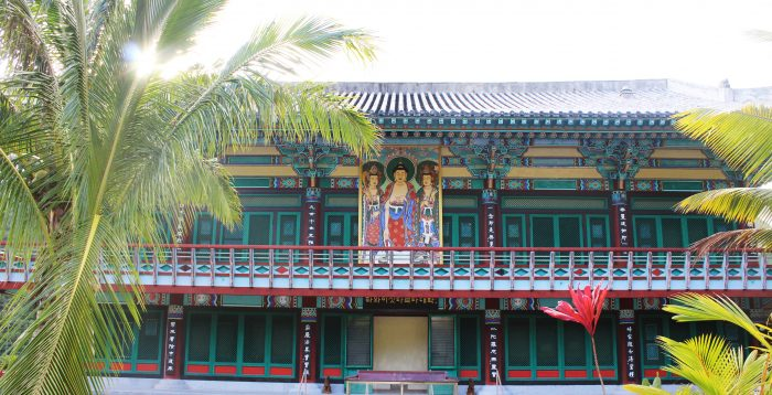 """Construction on the first of the temple's buildings began in 1980, but it was quickly discovered that the roof of the main hall exceeded city and county height restrictions. So, the roof was lowered to its present height, and now appears as a flaw; after all, Mu Ryang Sa translates to """"broken ridge."""""""