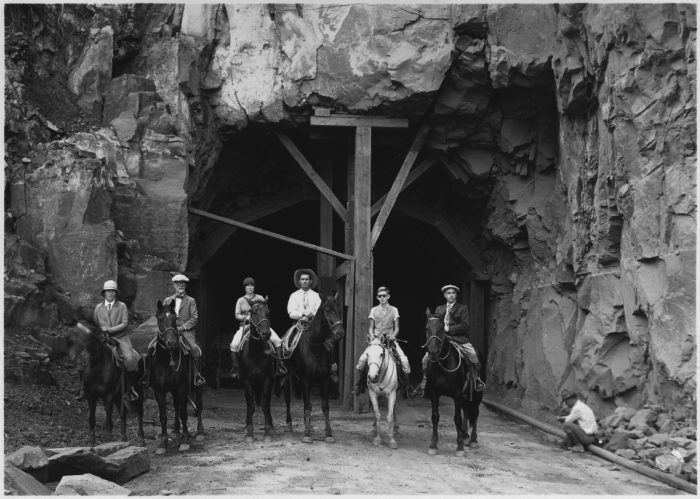 Horseback_party_at_west_entrance_to_Zion_Tunnel._This_tunnel_will_shorten_the_distance_from_Zion_to_Bryce_by_70..._-_NARA_-_520397