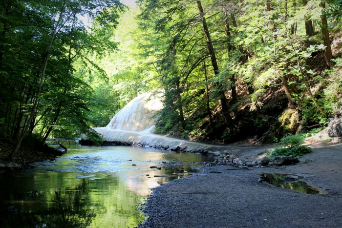The end of the lower trail brings you right down to Geyser Creek and a stunning waterfall.