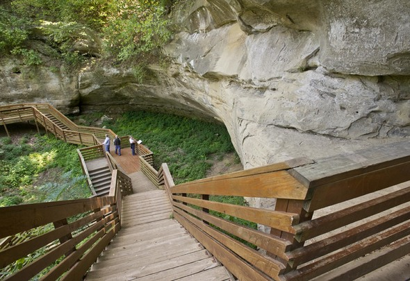 Native Americans used this recess in the sandstone cliff as shelter thousands of years ago.