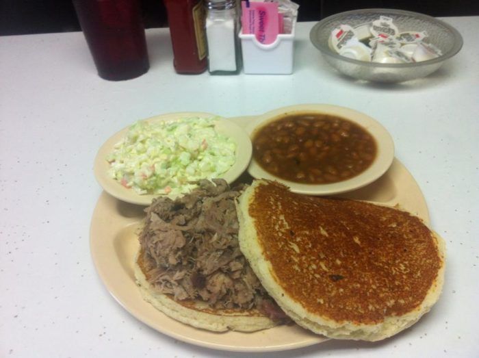 Judy's barbecue on fried cornbread