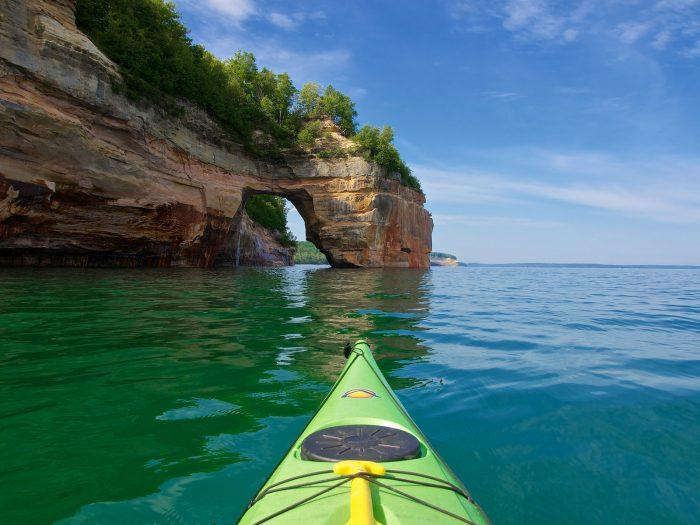 6. Kayaking Pictured Rocks National Lakeshore.