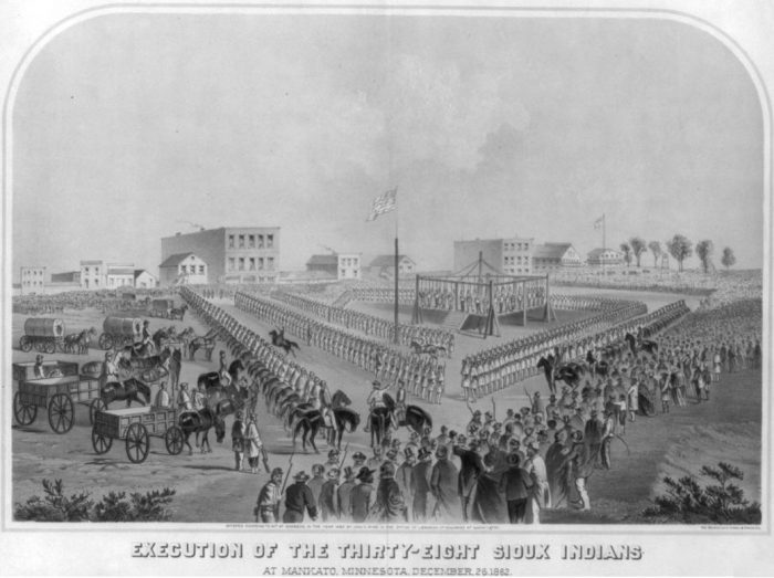 Frank Leslie's Illustrated Newspaper published this drawing of the scene when the 38 were hanged. Lincoln commuted the death sentences of 264 prisoners, but allowed those 38 to continue. One man was granted a reprieve, as there were originally 303 sentenced.