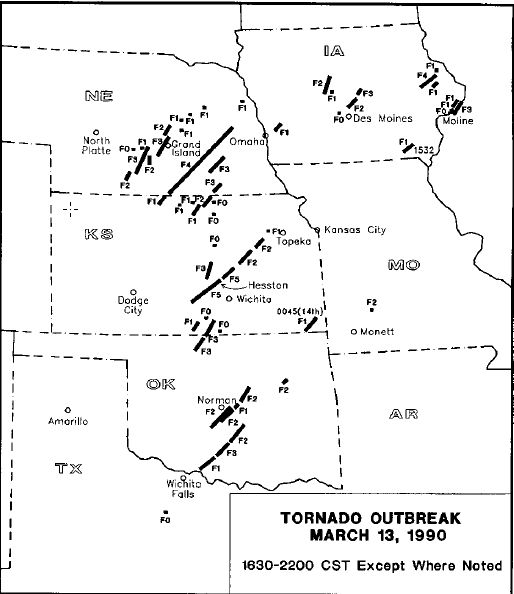 3. 1990: The towns of Wichita and Hesston are hit by a deadly F5 tornado during a Central United States tornado outbreak.