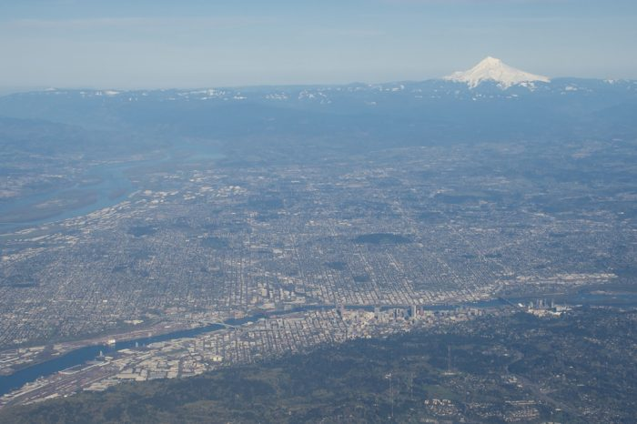 5. An awe-inspiring view of the city of Portland, with a hello from Mt. Rainier in the background.