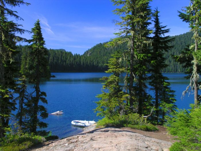 12. Mowich Lake in Mount Rainier National Park, during July.
