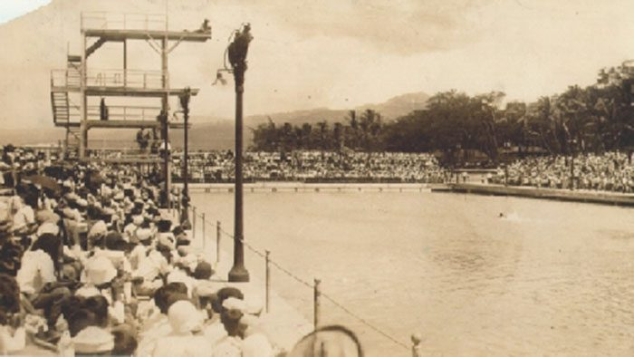 In the opening day ceremonies, held on August 24, 1927, Olympic gold medal holder Duke Kahanamoku made the first swim; it was also his birthday. After the attack on Pearl Harbor, the natatorium was taken over by the United States Army, and used for training during World War II.