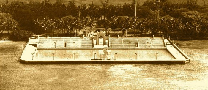 At the time of construction, the natatorium was a technological marvel, designed to filter saltwater in and out, complete with a high dive, and rows of bleachers that face the beautiful pool and Pacific Ocean beyond.