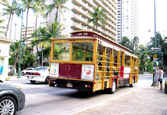 7. Only in Waikiki will you constantly see trolleys - which are almost always empty.