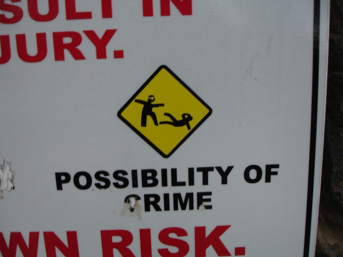 12. Please be aware that crime has occurred here.