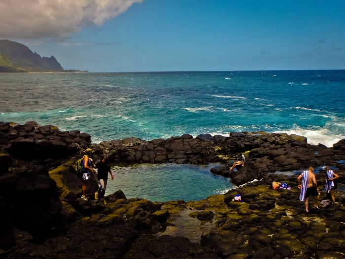 """Once referred to as Keanalele, Queen's Bath didn't take on its current name until the 1980s, when the original """"Queen's Bath,"""" a lava tube that had collapsed and been filled with fresh water in Kalapana on Hawaii Island, was destroyed by the 1980 Kilauea lava flows."""