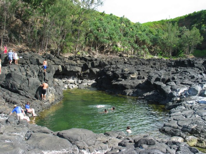 While the name may not have been adopted until 30-some years ago, it is quite fitting: the saltwater pool was used by royalty for bathing, and as a place of relaxation for ali'i who needed to wash away their stress.