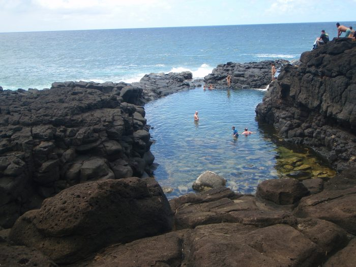 The natural wonder was once known for a mound with the most concentrated complex of petroglyphs in Hawaii, but has since been popularized by a variety of guide books, which often fail to address the necessary safety concerns associated with hanging out in the bath.