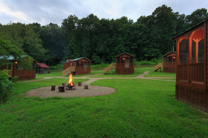 The Huntsman's Hollow is another accommodation option, which features multiple cabins situated around a fire ring.