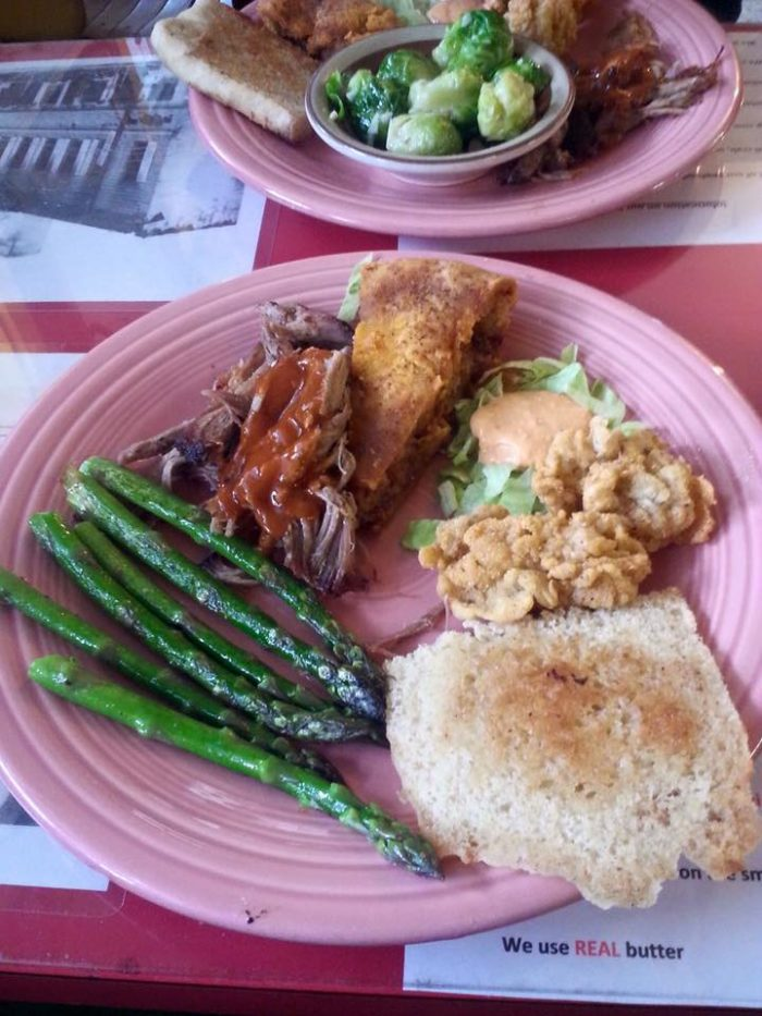 Rick's pulled pork, fried oysters, sides and pie
