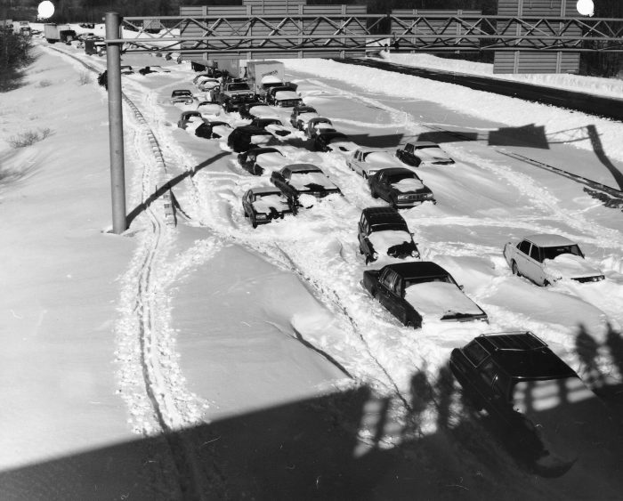 Hundreds of cars were stranded and/or abandoned along the highway and many folks were stuck in emergency shelters. Two feet of snow fell over the state, but with massive drifts and 70 mph winds, the daily routine of the entire New England region was shut down, but especially in Connecticut.