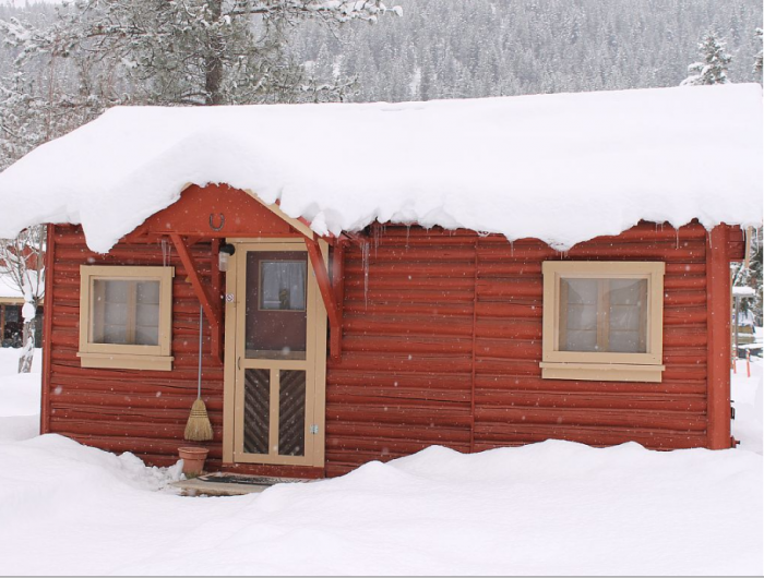 5. An antique log cabin nestled in the Rocky Mountains (and close to I-90).