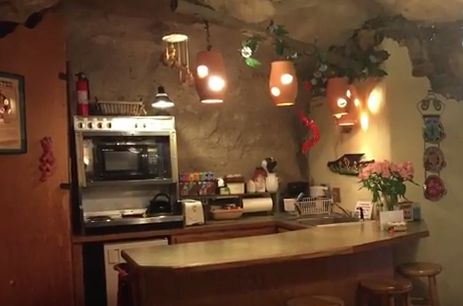 If you're in the mood for cooking, no problem! This cave boasts a fully functional kitchen.
