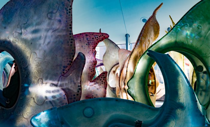 30 internally-illuminated fish will greet you once you step inside the spiraling building, making it hard to choose which one you'll want to ride!