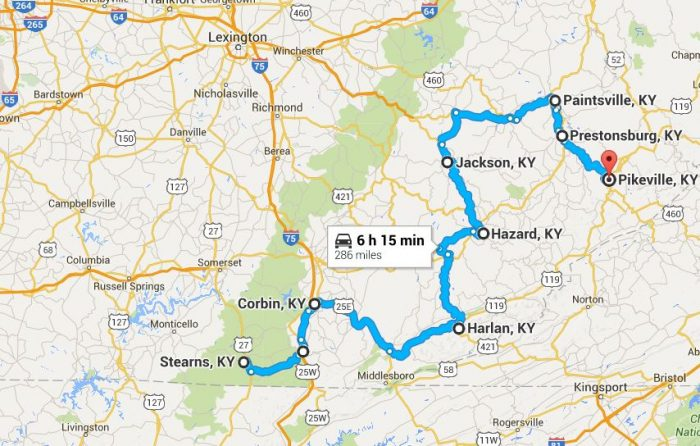 Southern Kentucky road trip map.
