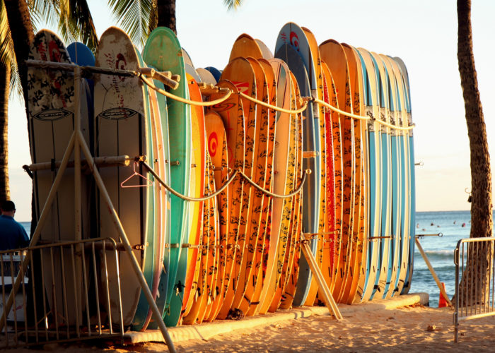 2. The surfboard stands that are as gorgeous as they are well-loved.
