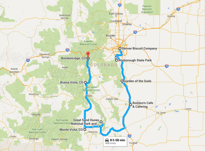 Garden Of The Gods Colorado Map.9 Places You Can Go On One Tank Of Gas In Colorado