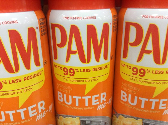 2. Spray Pam on your snow shovel.