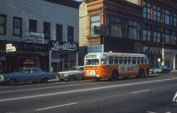 5. A city bus goes down the streets of Sheboygan in 1968.