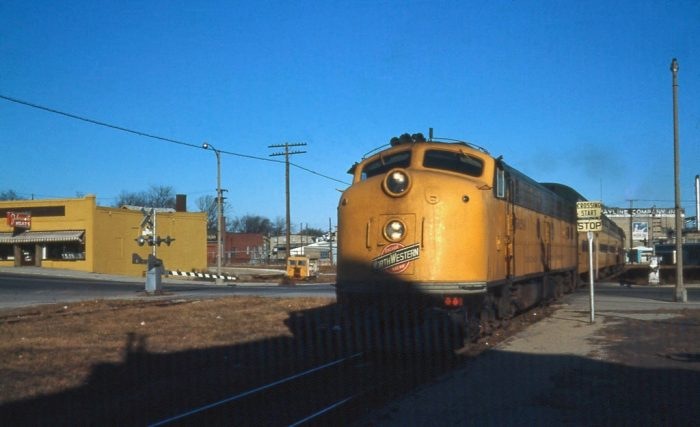 6. This is a shot of a C&NW train in 1968 in Sheboygan.