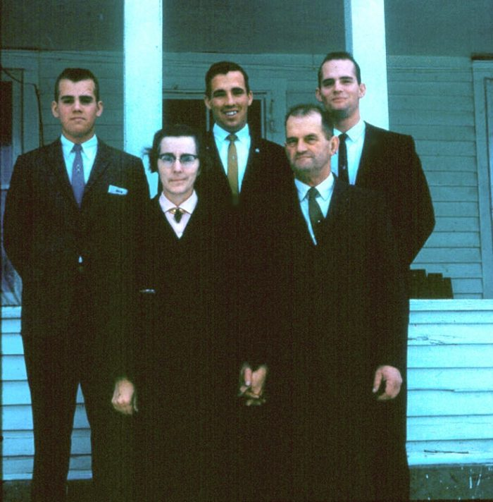 10. The boys are all dressed up for a 1961 wedding.