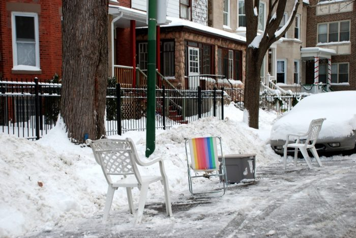 5. Learn that people take shoveling their spots out in Chicago seriously.