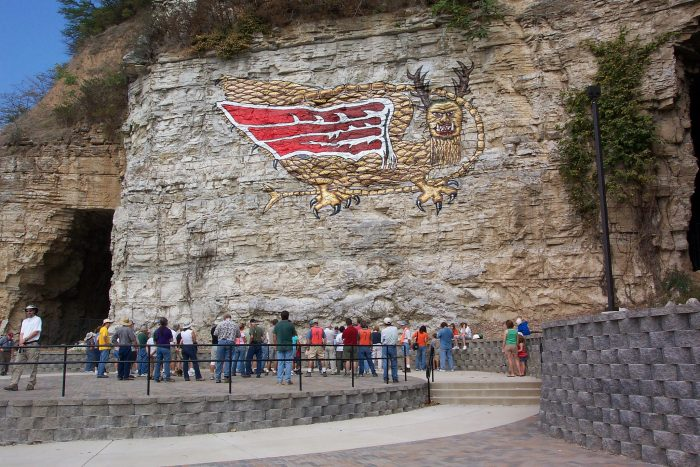 3. This is the Piasa bird, which pays homage to the local legend supposedly seen by Father Jacques Marquette.