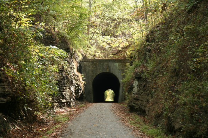 7. There is only one tunnel on the trail, but it is around 550 feet long.