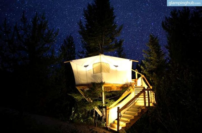 1. This canvas treehouse is located a few miles from Glacier National Park.