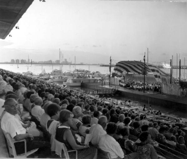 Audience watches a performance at the Marine Stadium, 1967