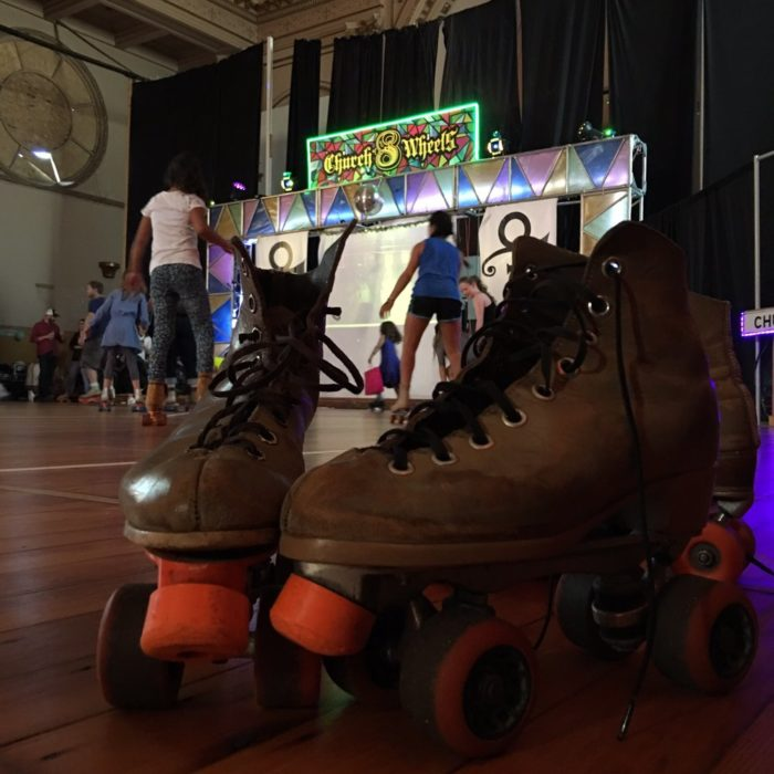 2. Strap on some skates, grab his (or her) hand, and flash back to the good ol' days at the Church of 8 Wheels' Roller Disco.