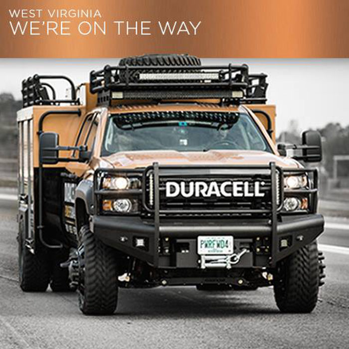 Duracell is sending a truck around the state to distribute batteries and make charging stations available for phones.